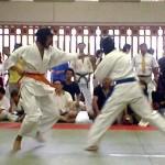 長いリーチをいかして強い突きで攻める鈴木選手(左)