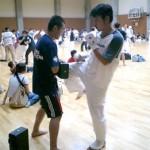 アップ場にて。三浦選手&セコンドの興津さん。