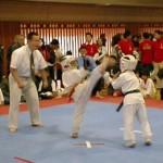 幼年の部決勝戦で上段廻し蹴りをだす大和建匠6級