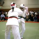 パワフルな突きと下段回し蹴りで攻める小椎尾選手(右)