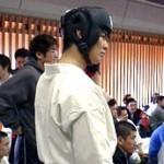 試合直前の橋本選手の表情。