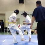 橋本英樹6級の1回戦。下段廻し蹴りで技有りをとる。