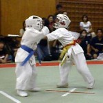 軽快なフットワークからの上段回し蹴りで勝ち進んだ加藤禎基選手(左)