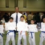 少年部入賞者達。左より相川莉穂選手、大島直之選手、大島早織選手、大和建匠選手、宮腰七恵選手。