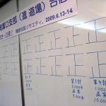三浦さんが作ってくれた横断幕と、100本ごとの正の字。
