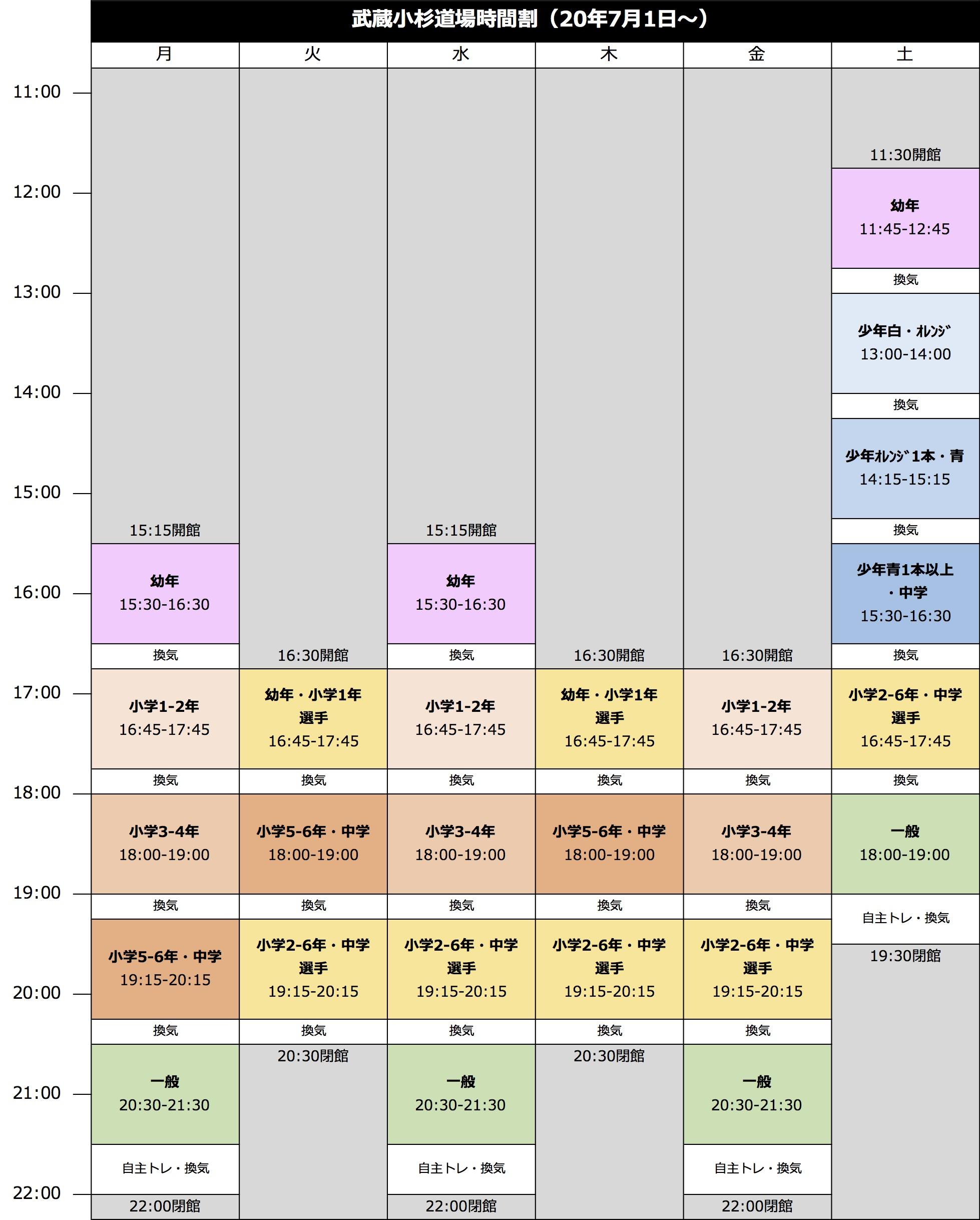 極真会館神奈川川崎中央支部 武蔵小杉道場 時間割