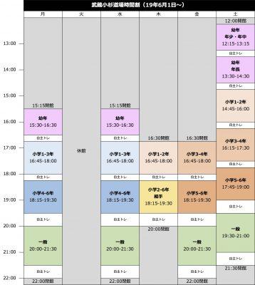 武蔵小杉道場時間割(19年6月)